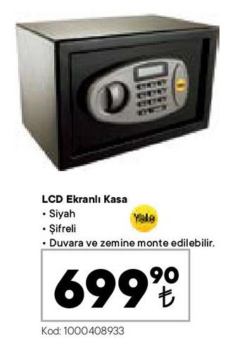 Yale LCD Ekranlı Kasa siyah şifreli image