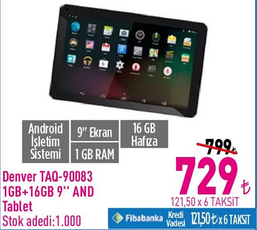 "Denver TAQ-90083 1 GB+16 GB 9"" And Tablet image"