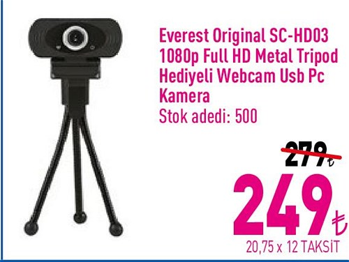 Everest Original SC-HD03 1080 Dp Full Hd Metal Tripod Hediyeli Webcam Usb Pc Kam image