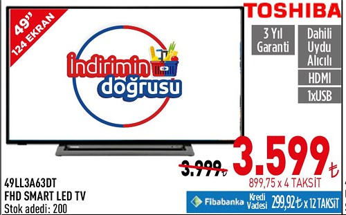 "Toshiba 49LL3A63DT 49"" 124 Ekran Fhd Smart Led Tv image"