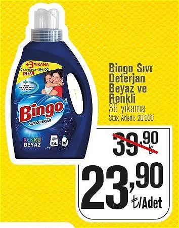 Bingo Sıvı Deterjan Beyaz ve Renkli 36 Yıkama image