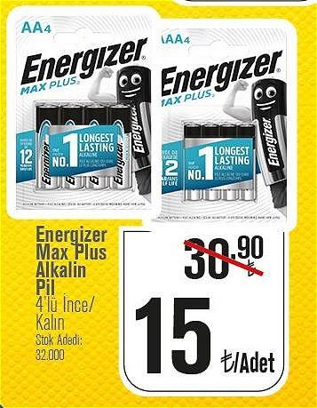Energizer Max Plus Alkalin Pil 4'lü İnce/Kalın image