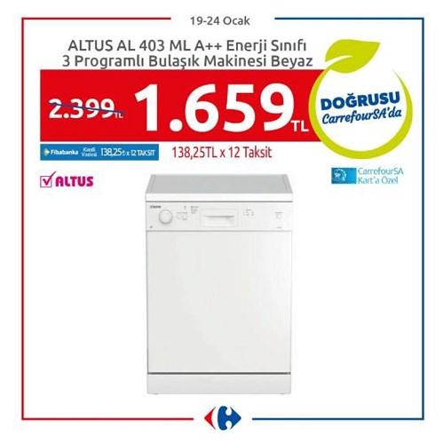 Altus AL 403 ML A+ Enerji Sınıfı 3 Programlı Bulaşık Makinesi Beyaz image