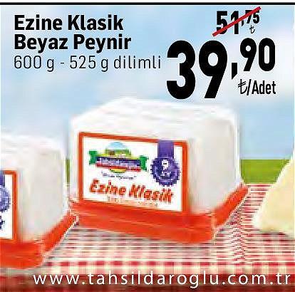 Tahsildaroğlu Ezine Klasik Beyaz Peynir 600 g- 525 g Dilimli image
