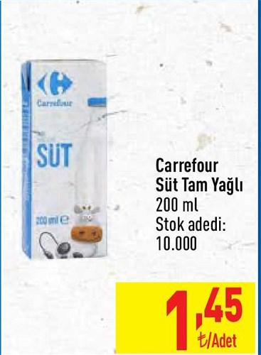 Carrefour Süt Tam Yağlı 200 ml image