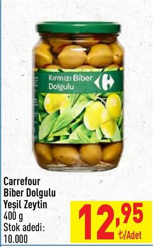 Carrefour Biber Dolgulu Yeşil Zeytin 400 g image