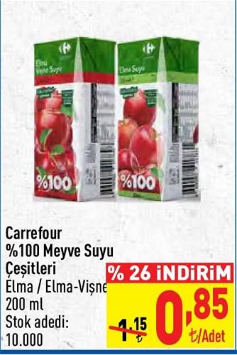 Carrefour %100 Meyve Suyu Çeşitleri 200 ml image