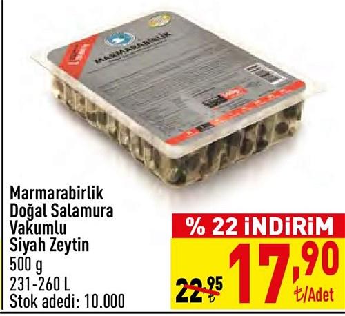 Marmarabirlik Doğal Salamura Vakumlu Siyah Zeytin 500 g image