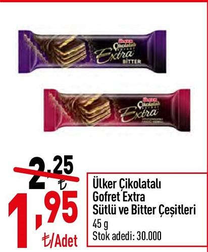 Ülker Çikolatalı Gofret Extra Sütlü ve Bitter Çeşitleri 45 g image