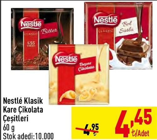 Nestle Klasik Kare Çikolata Çeşitleri 60 g image