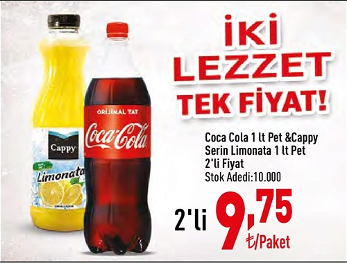Coca Cola 1 lt Pet&Cappy Serin Limonata 1 lt Pet  image