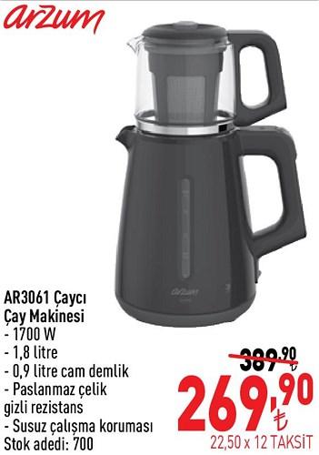 Arzum AR3061 Çaycı Çay Makinesi 1700 W image