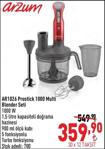 Arzum AR1026 Prostick 1000 Multi Blender Seti 1000 W image