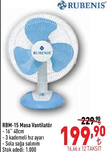Rubenis RBM-15 Masa Vantilatör image