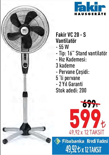 Fakir VC 20-S Vantilatör 55 W image