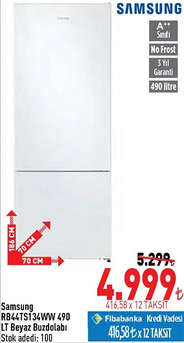 Samsung RB44TS134WW 490 LT Beyaz Buzdolabı image