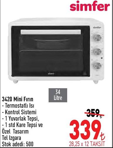 Simfer 3420 Mini Fırın 34 Litre image