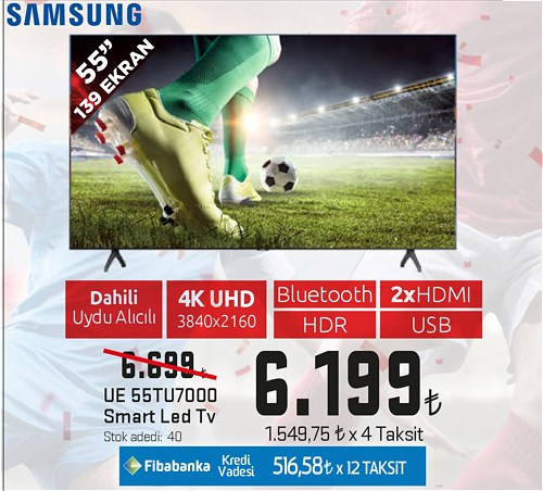 "Samsung UE 55TU7000 55"" 139 Ekran Smart Led Tv image"