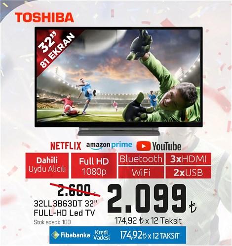 "Toshiba 32LL3B63DT 32"" 81 Ekran Full HD Led Tv image"