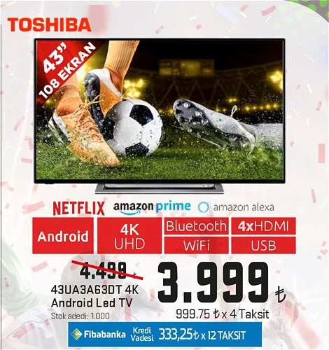 "Toshiba 43UA3A63DT 43"" 108 Ekran 4K Android Led Tv image"
