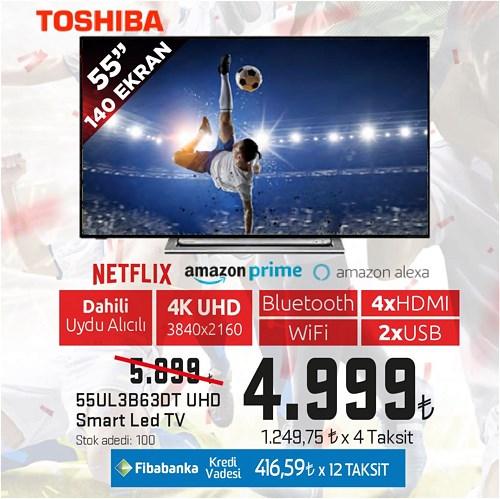 "Toshiba 55UL3B63DT 55"" 140 Ekran UHD Smart Led Tv image"