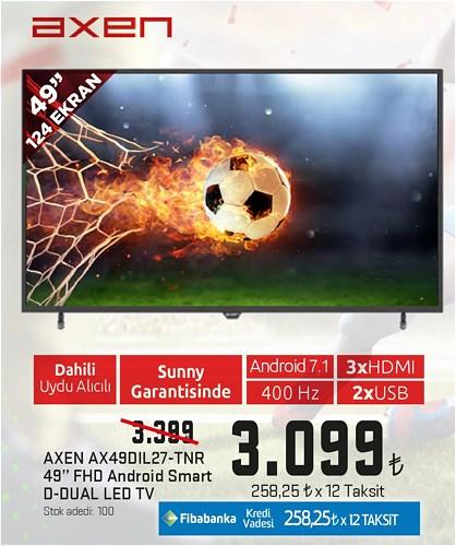 "Axen AX49DIL27-TNR 49"" 124 Ekran FHD Android Smart D-Dual Led Tv image"