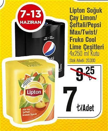 Lipton Soğuk Çay Limon/Şeftali/Pepsi Max/Twist/Fruko Cool Lime Çeşitleri 4x250 m image