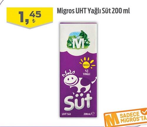 Migros UHT Yağlı Süt 200 ml image