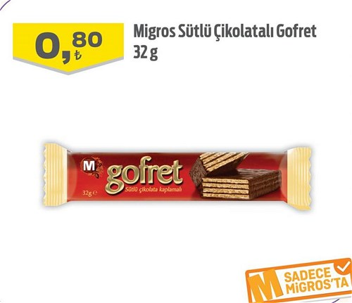 Migros Sütlü Çikolatalı Gofret 32 g image