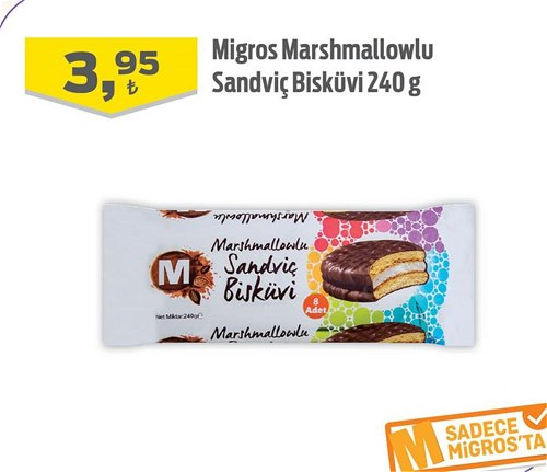 Migros Marshmallowlu Sandviç Bisküvi 240 g image