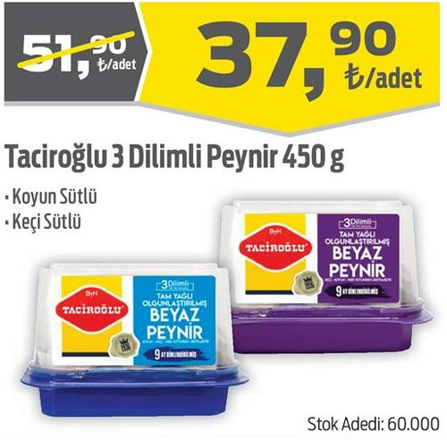 Taciroğlu 3 Dilimli Peynir 450 g image