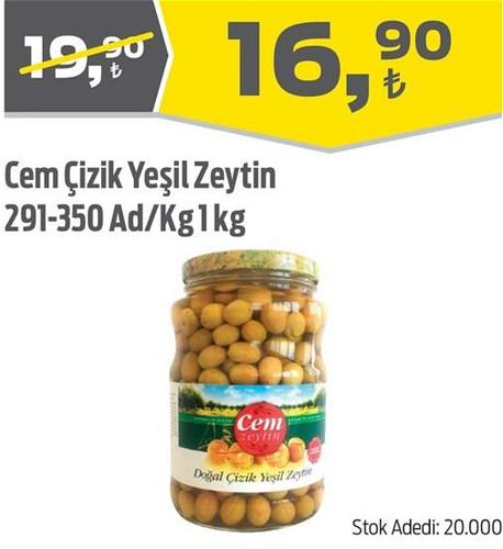 Cem Çizik Yeşil Zeytin 291-350 Ad/Kg 1 kg image