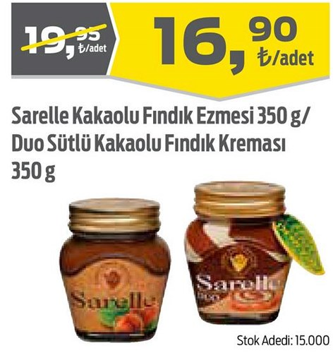 Sarelle Kakaolu Fındık Ezmesi 350 g/Duo Sütlü Kakaolu Fındık Kreması 350 g image