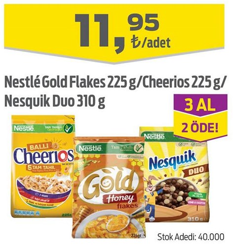 Nestle Gold Flakes 225 g/Cheerios 225 g/Nesquik Duo 310 g image