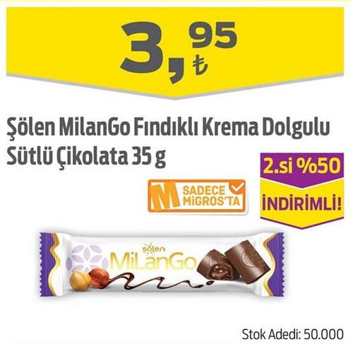 Şölen MilanGo Fındıklı Krema Dolgulu Sütlü Çikolata 35 g image