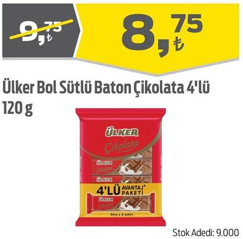 Ülker Bol Sütlü Baton Çikolata 4'lü 120 g image
