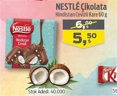 Nestle Çikolata Hindistan Cevizli Kare 60 g image