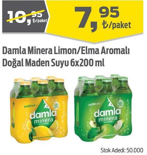 Damla Minera Limon/Elma Aromalı Doğal Maden Suyu 6x200 ml image