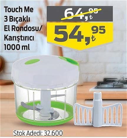 Touch Me 3 Bıçaklı El Rondosu/Karıştırıcı 1000 ml  image