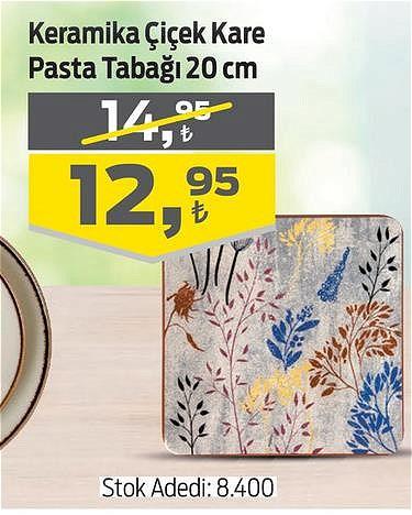 Keramika Çiçek Kare Pasta Tabağı 20 cm image