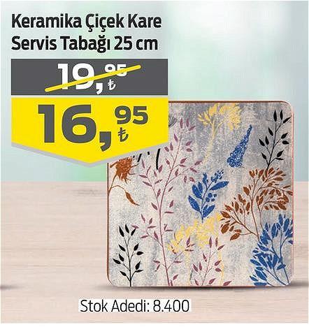 Keramika Çiçek Kare Servis Tabağı 25 cm image