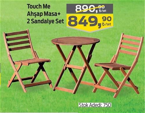 Touch Me Ahşap Masa+2 Sandalye Set image