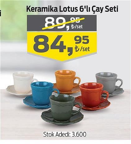 Keramika Lotus 6'lı Çay Seti image