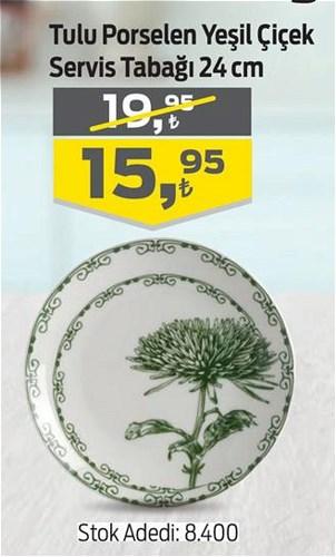 Tulu Porselen Yeşil Çiçek Servis Tabağı 24 cm image