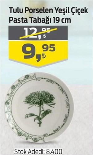 Tulu Porselen Yeşil Çiçek Pasta Tabağı 19 cm image