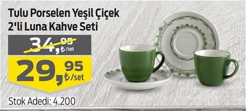 Tulu Porselen Yeşil Çiçek 2'li Luna Kahve Seti image