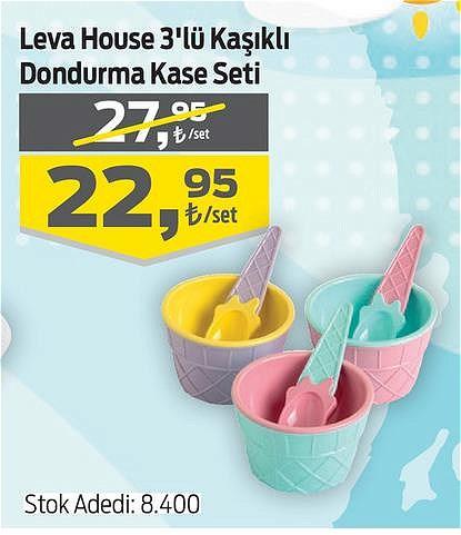 Leva House 3'lü Kaşıklı Dondurma Kase Seti image