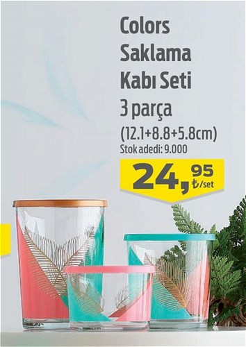Lav Colors Saklama Kabı Seti 3 Parça (12.1+8.8+5.8 cm) image