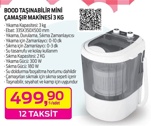 Bood Taşınabilir Mini Çamaşır Makinesi 3 kg image