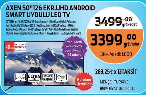 """Axen 50"""" 126 Ekran UHD Android Smart Uydulu Led Tv image"""